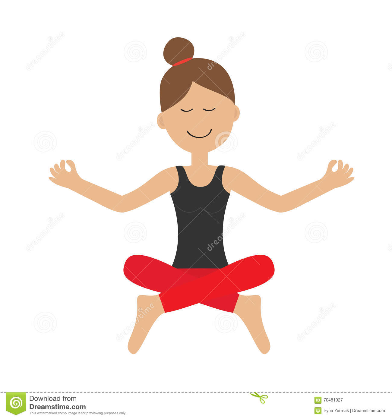 Cute Cartoon Yoga Girl Royalty-Free Stock Photo -3335