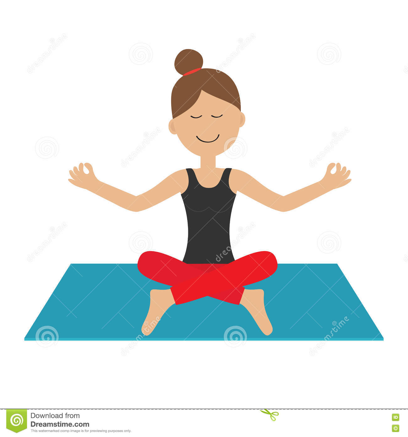 Young Girl Do Yoga Cute Cartoon Woman Character Sitting In Lotus Pose Healthy Lifestyle Yoga Pad Fitness Clothes Relax Stock Vector Illustration Of Lotus Meditation 71211151