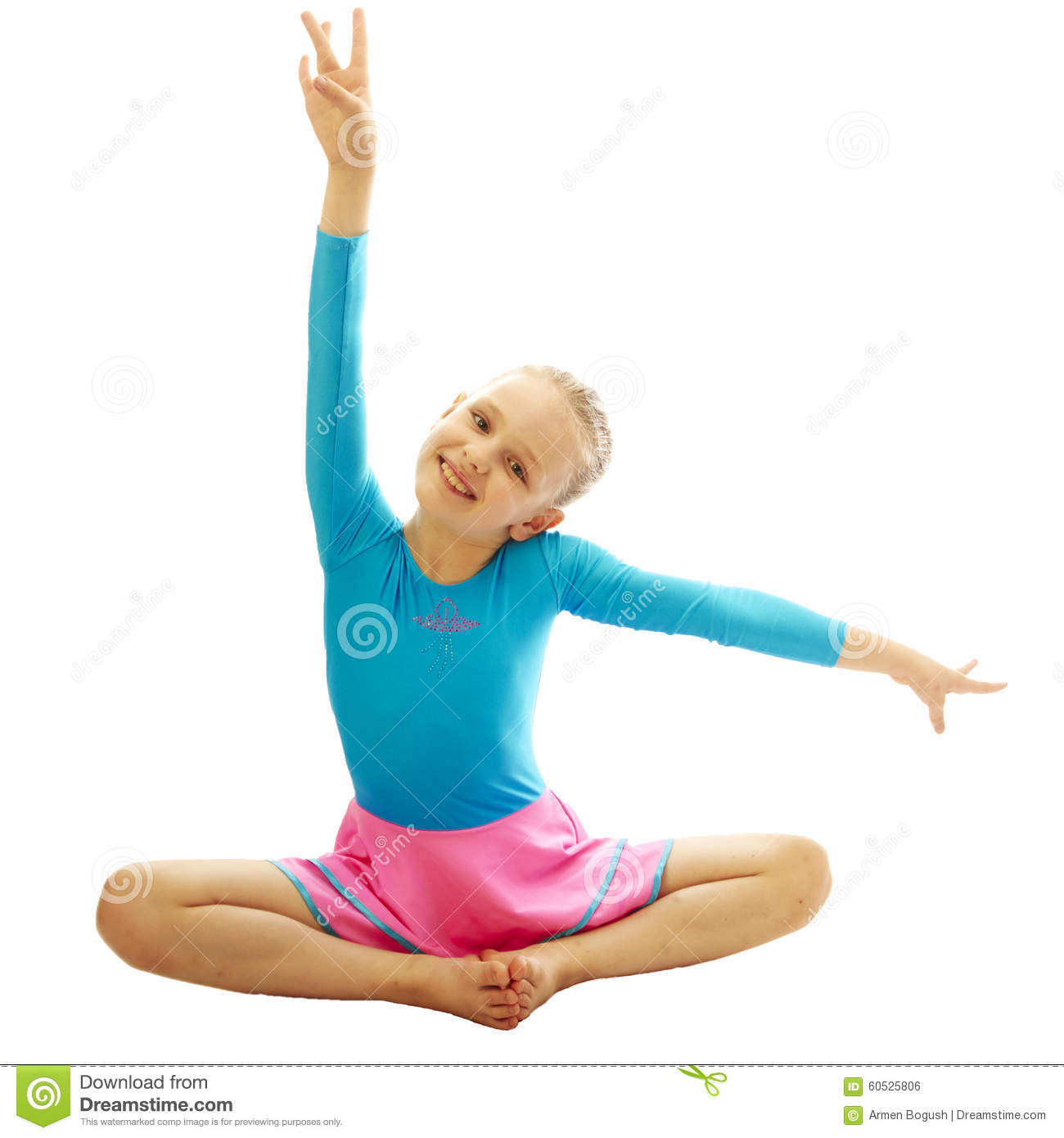 preteen stretch Young girl doing gymnastics exercises
