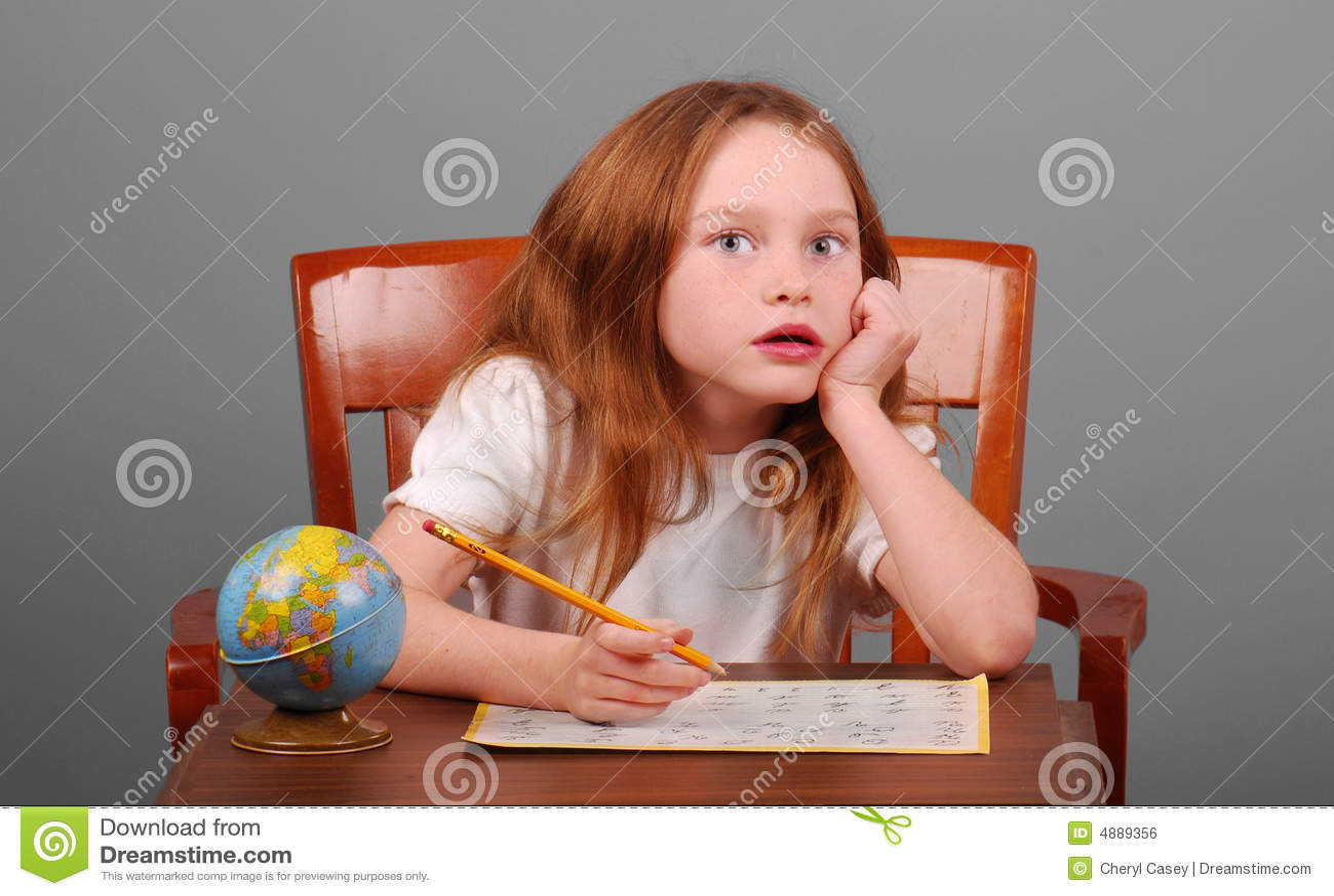 Young Girl Doing School Work Stock Photo - Image of study ...