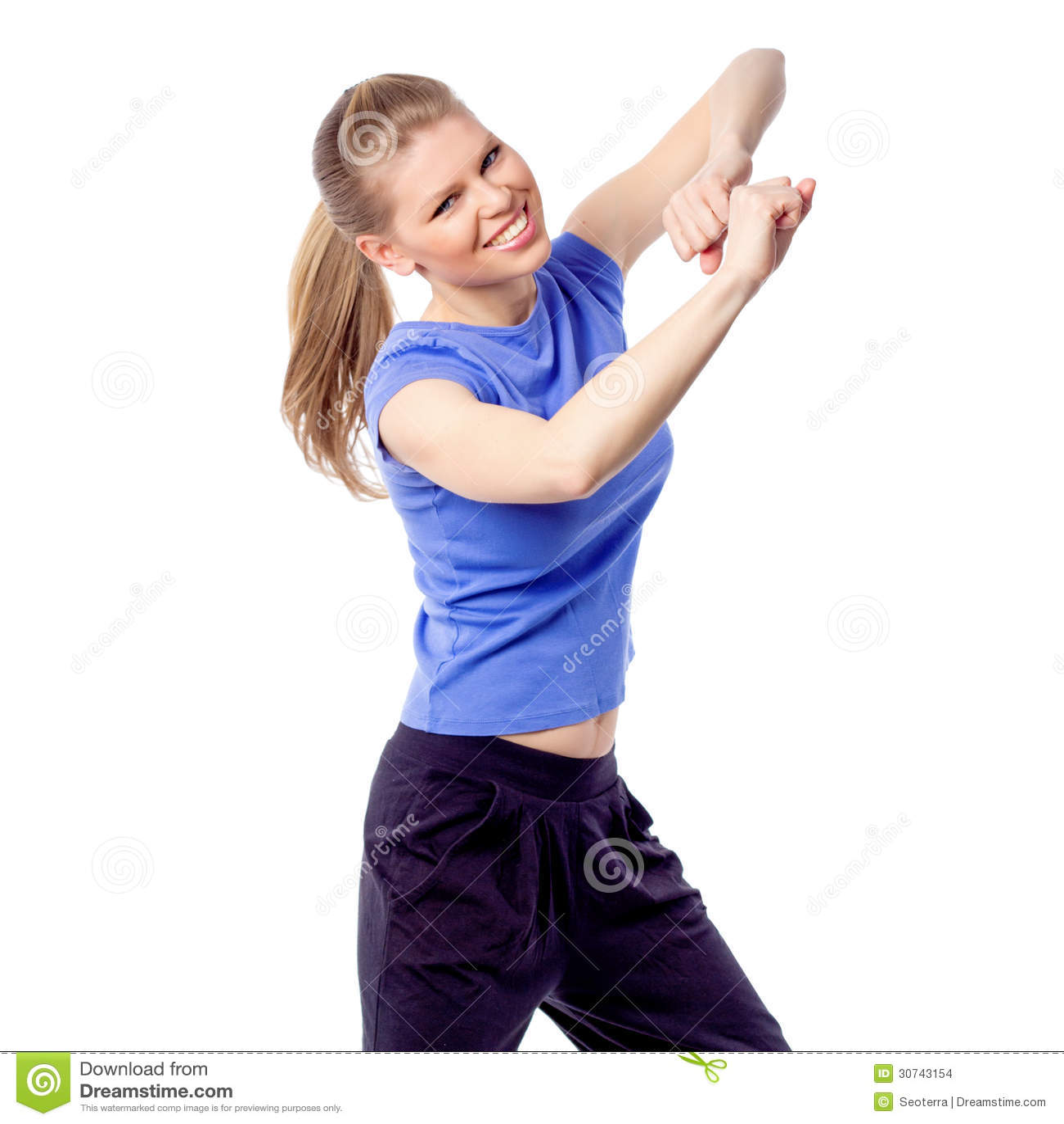 Young Girl Doing Zumba Fitness Stock Photo