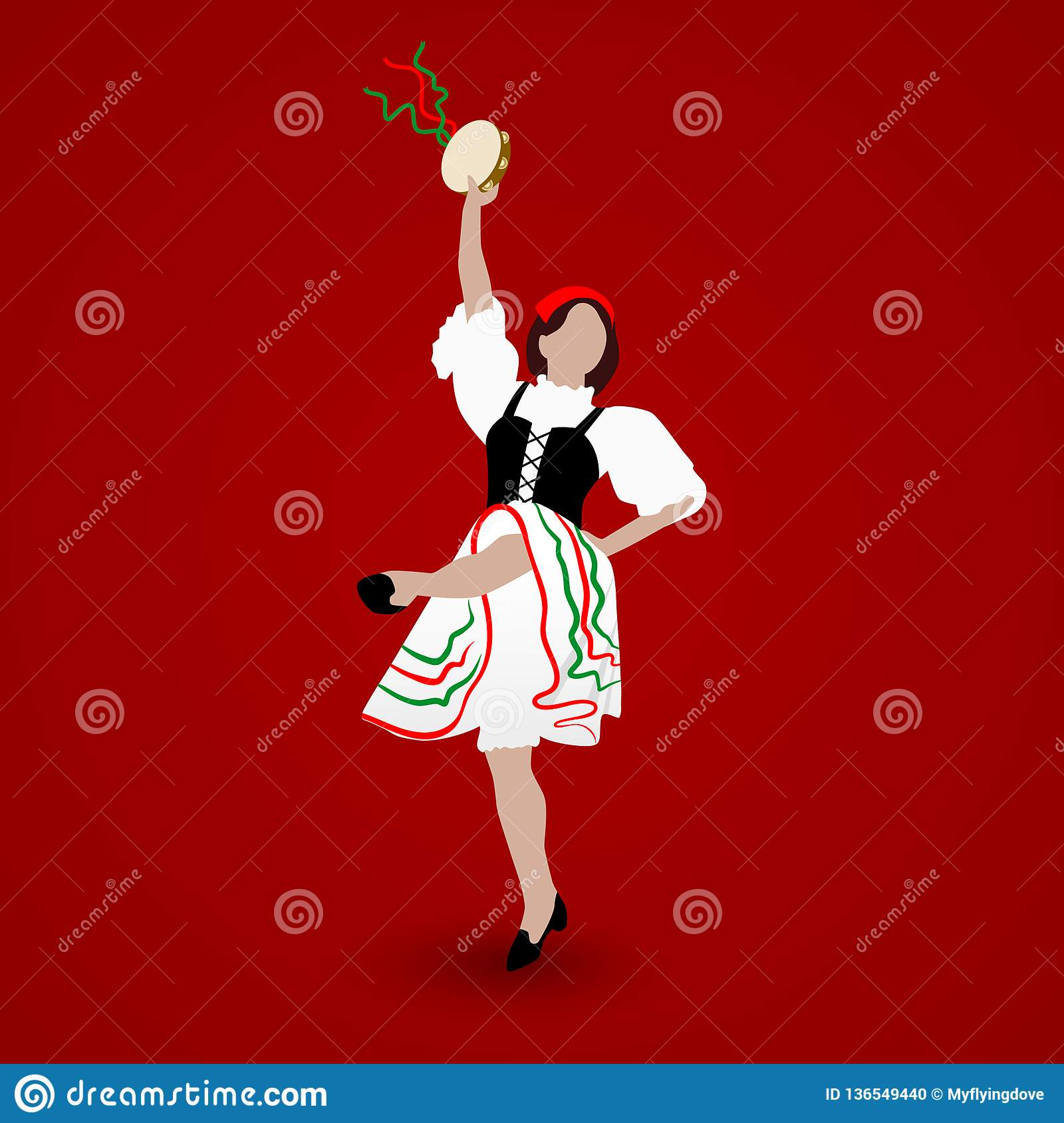 A young girl dressed in a national costume dancing an Italian tarantella with a tambourine on red background