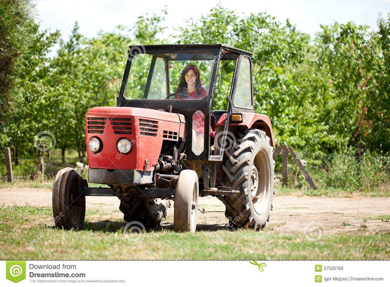 Young girl driving tractor stock image. Image of ...