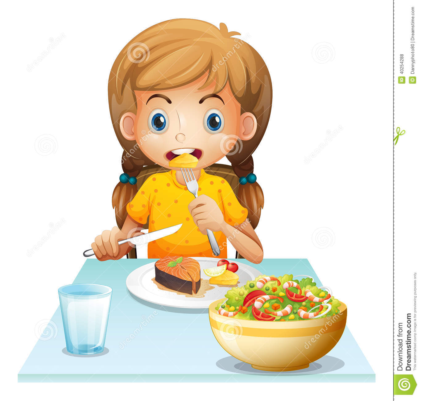Happy Cute Kid Girl Eat Healthy Food Stock Vector - Illustration of little,  child: 166126255