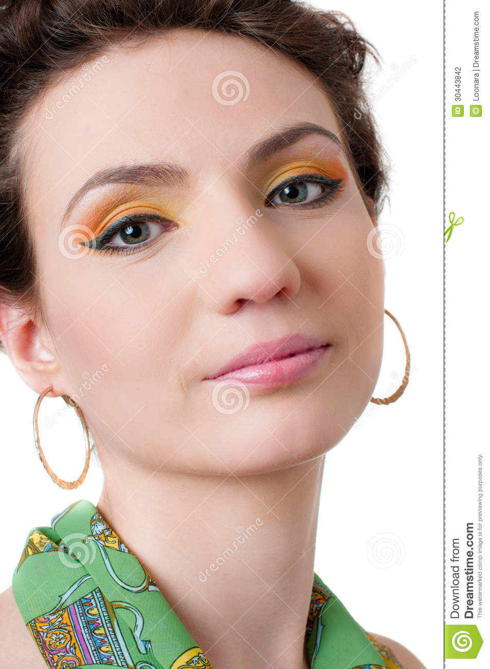 Young Girl With Expressive Makeup, Isolated Stock