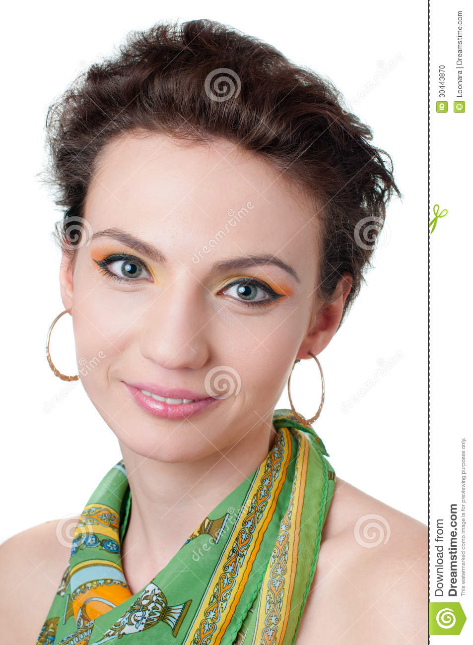 Young Girl With Expressive Makeup, Isolated Stock Photo