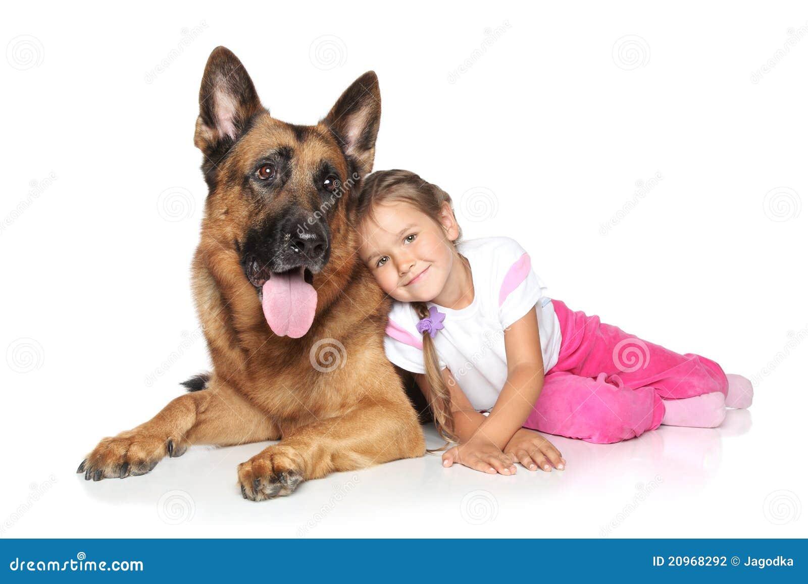 Young Girl And German Shepherd Dog Stock Photo Image