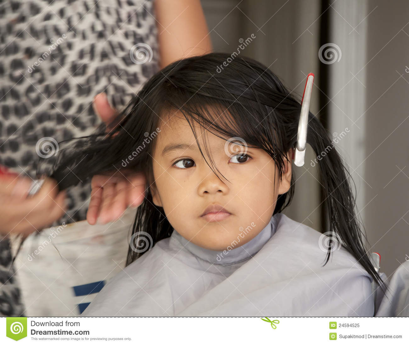 Young Girl Getting A Haircut Stock Image Image Of Female Happy