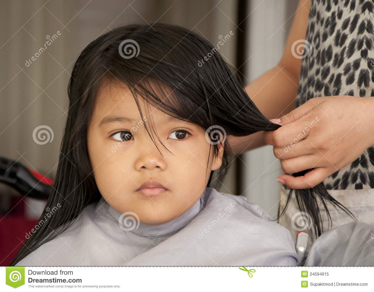 Young Girl Getting A Haircut Stock Image Image Of Cute Girl 24594615