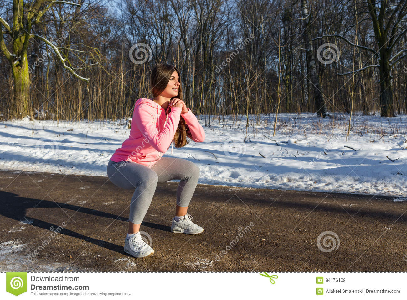 A Young Girl Goes In For Sports In Winter Park  Stock Image
