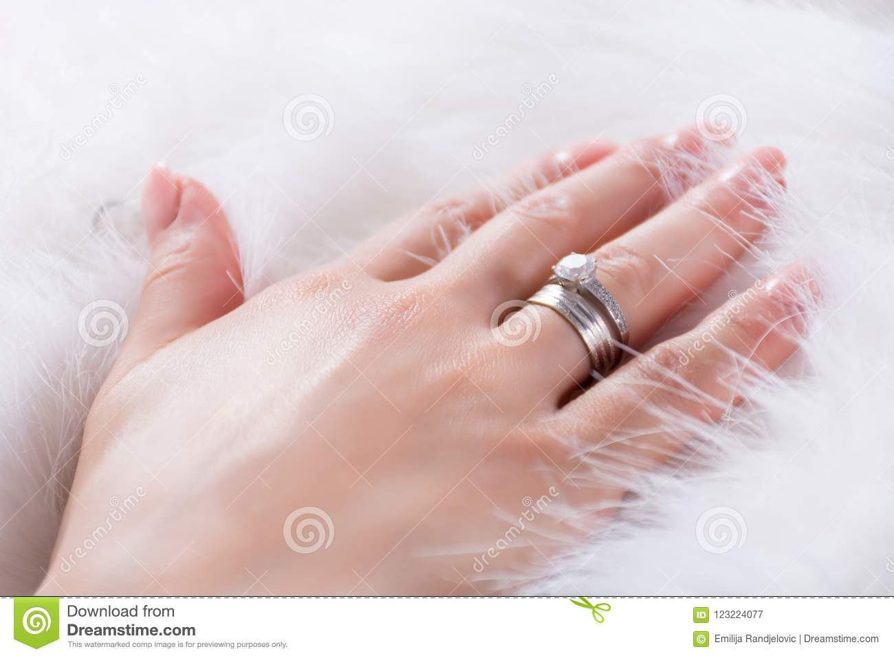 Young Girl Hands With Diamond Engagement Ring On Finger Stock Image ...