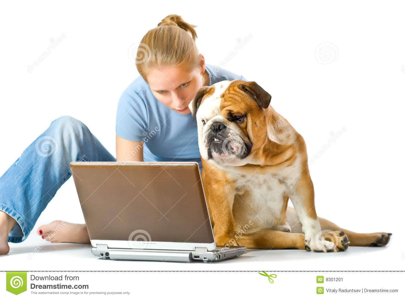 Young Girl With Her Pet Isolated On White Backgrou Stock Image - Image ... Yorkshire Terrier 911