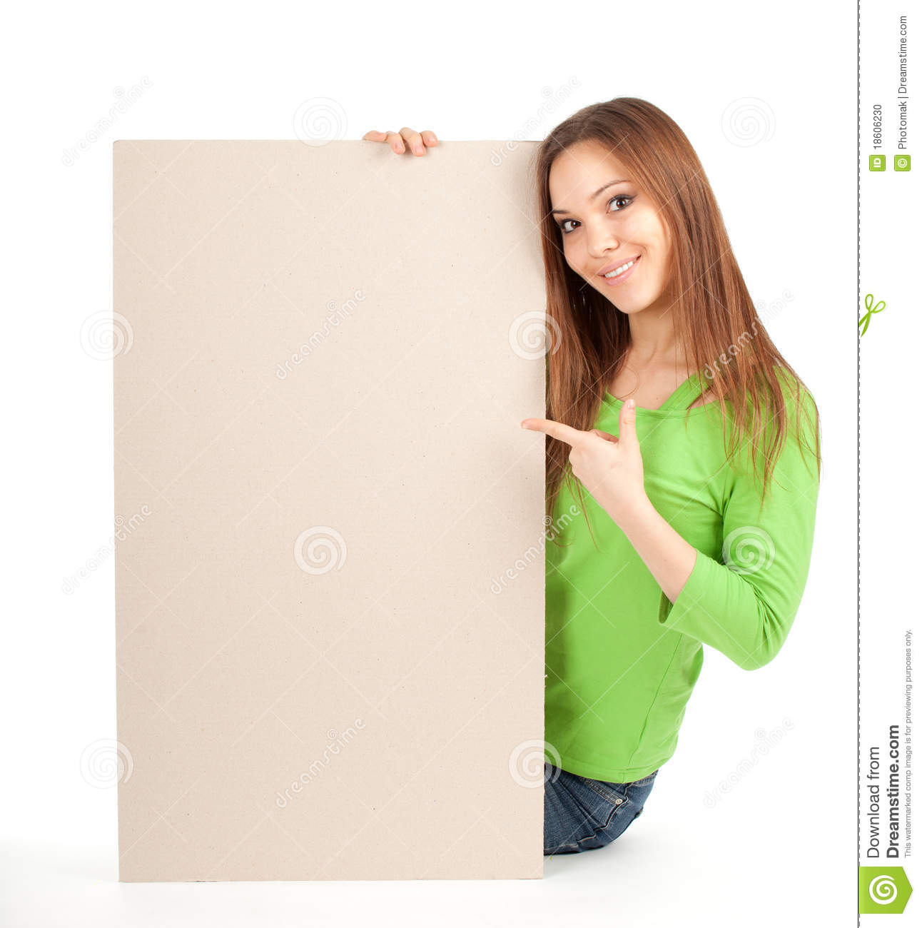 Young Girl Holding Blank Poster Stock Photo Image Of