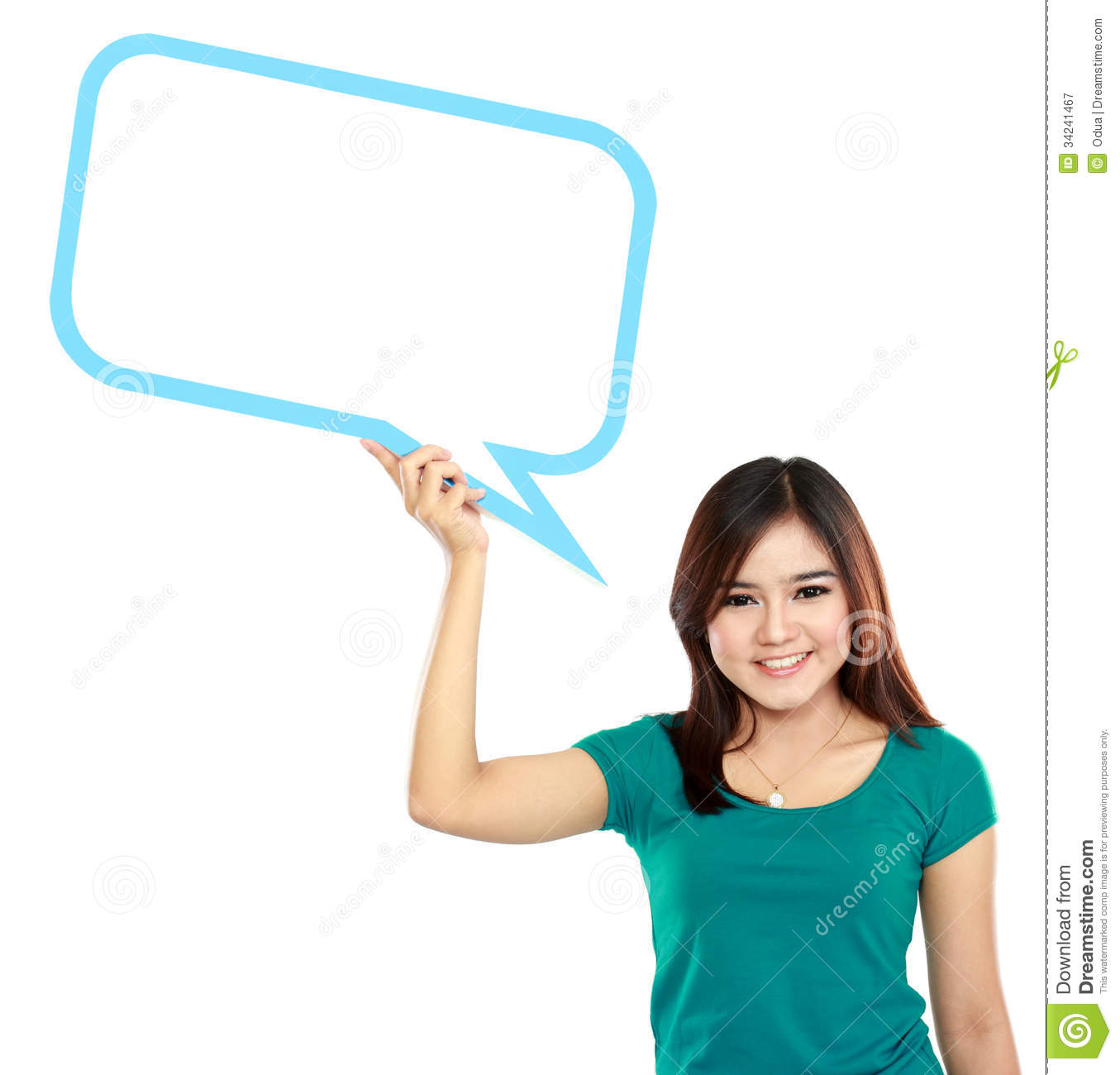 Young Girl Holding Blank Text Bubble In Specs Royalty Free ...