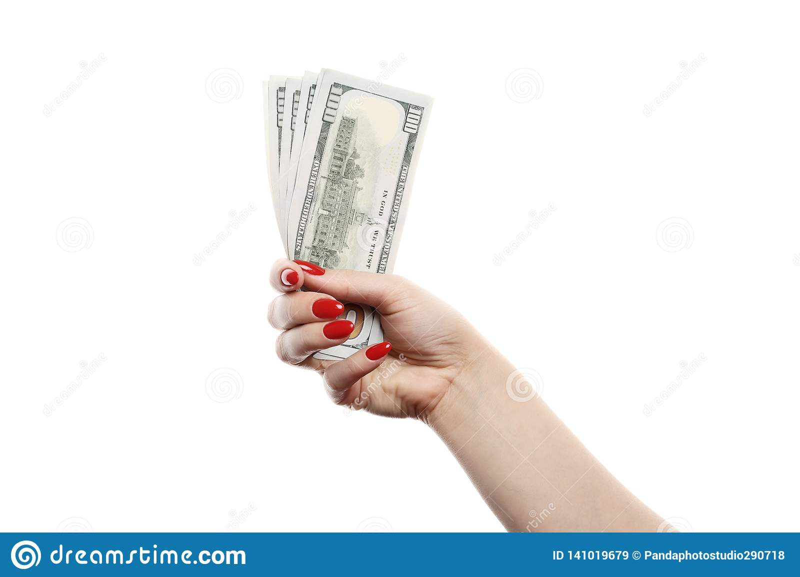 Girl holds a lot of hundred dollar bills isolated on white background