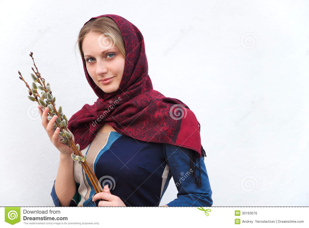 Royalty Free Stock Image Girl With Pussy Willow