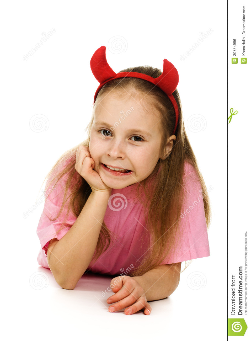 young girl with horns imp royalty free stock image image clipart for kids labels clipart for kids