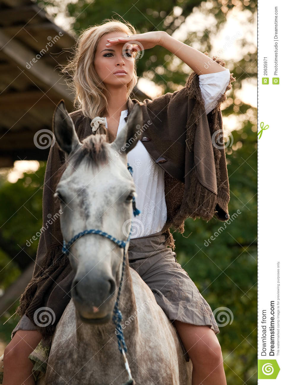 Young Girl On Horse Stock Image Image Of Countryside