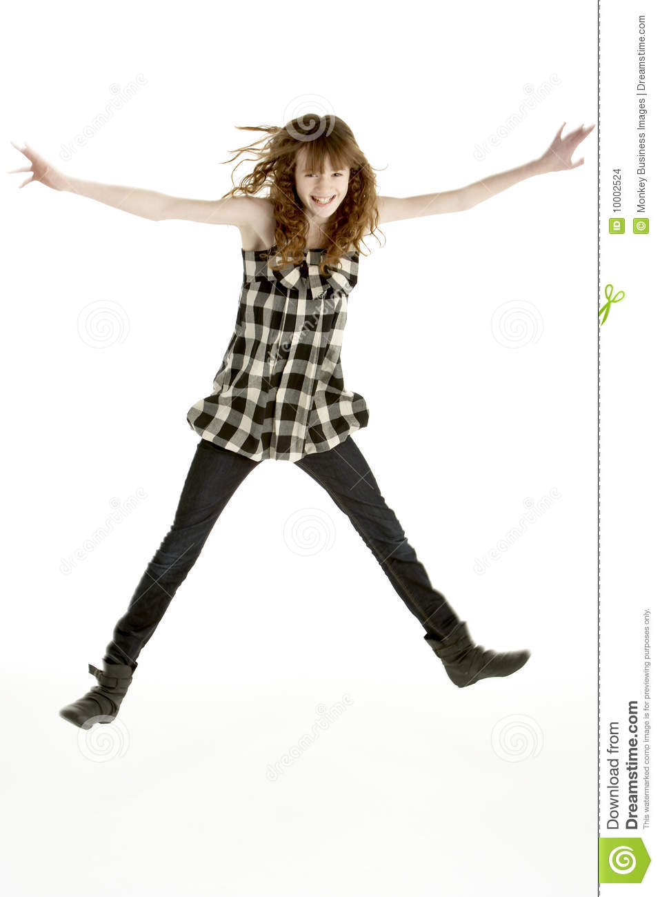Young Girl Jumping In Air