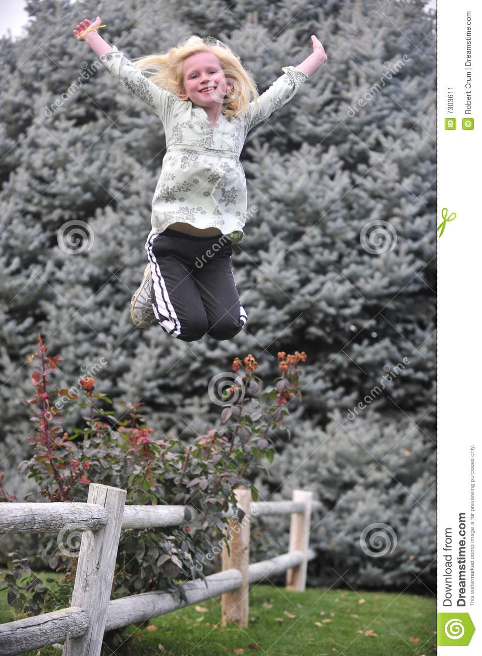 Young Girl Jumping From A Fence Stock Image Image 7303611