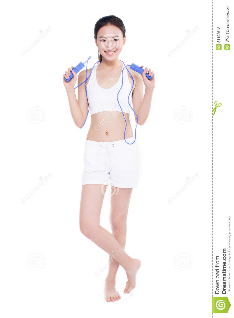 Young Girl Jumping Rope, White Background Stock Photo ...