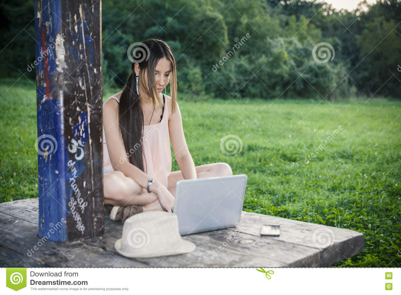 Young Girl Laptop Lap Top Park Return Flight Tickets Print Your