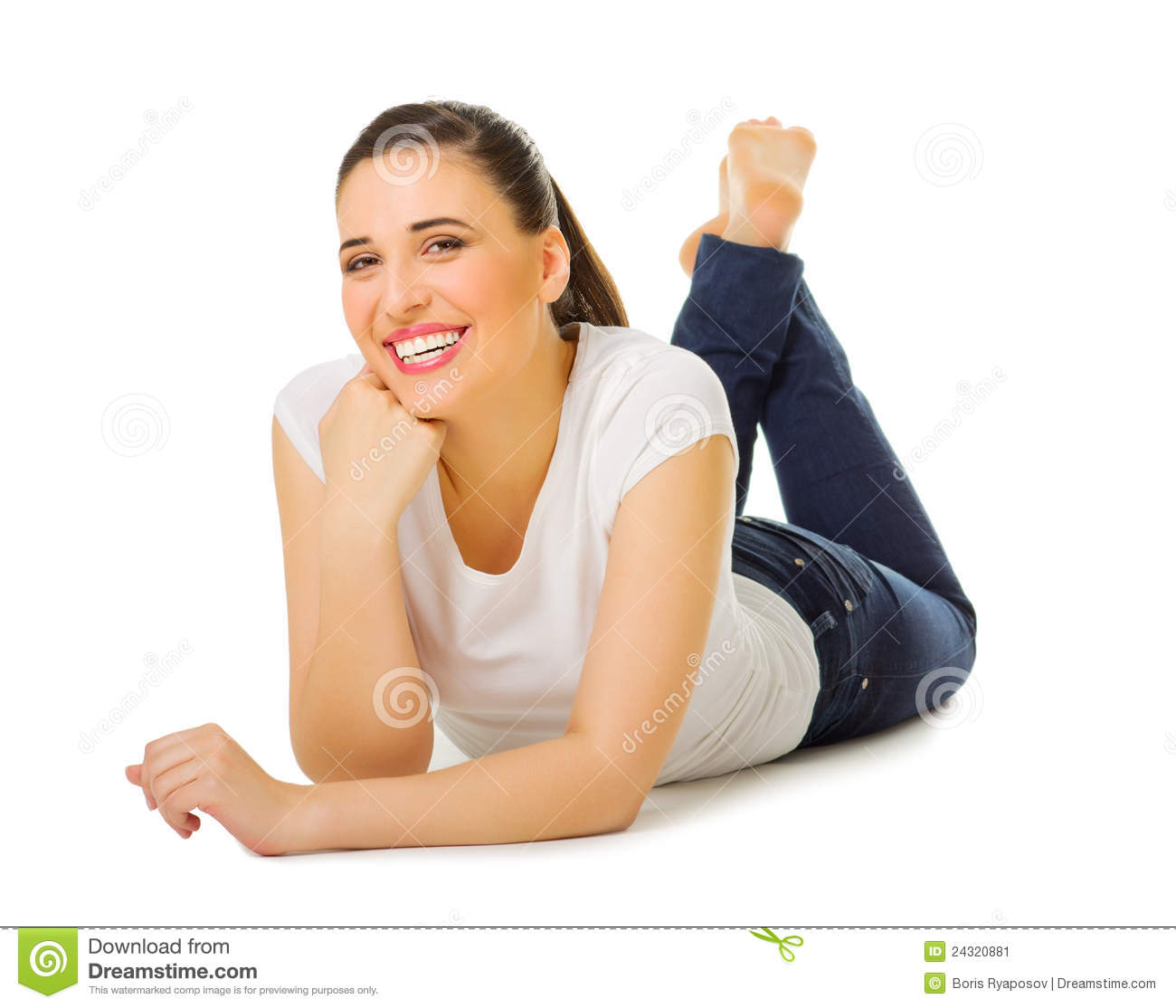 Young Girl Laying On The Floor Stock Image