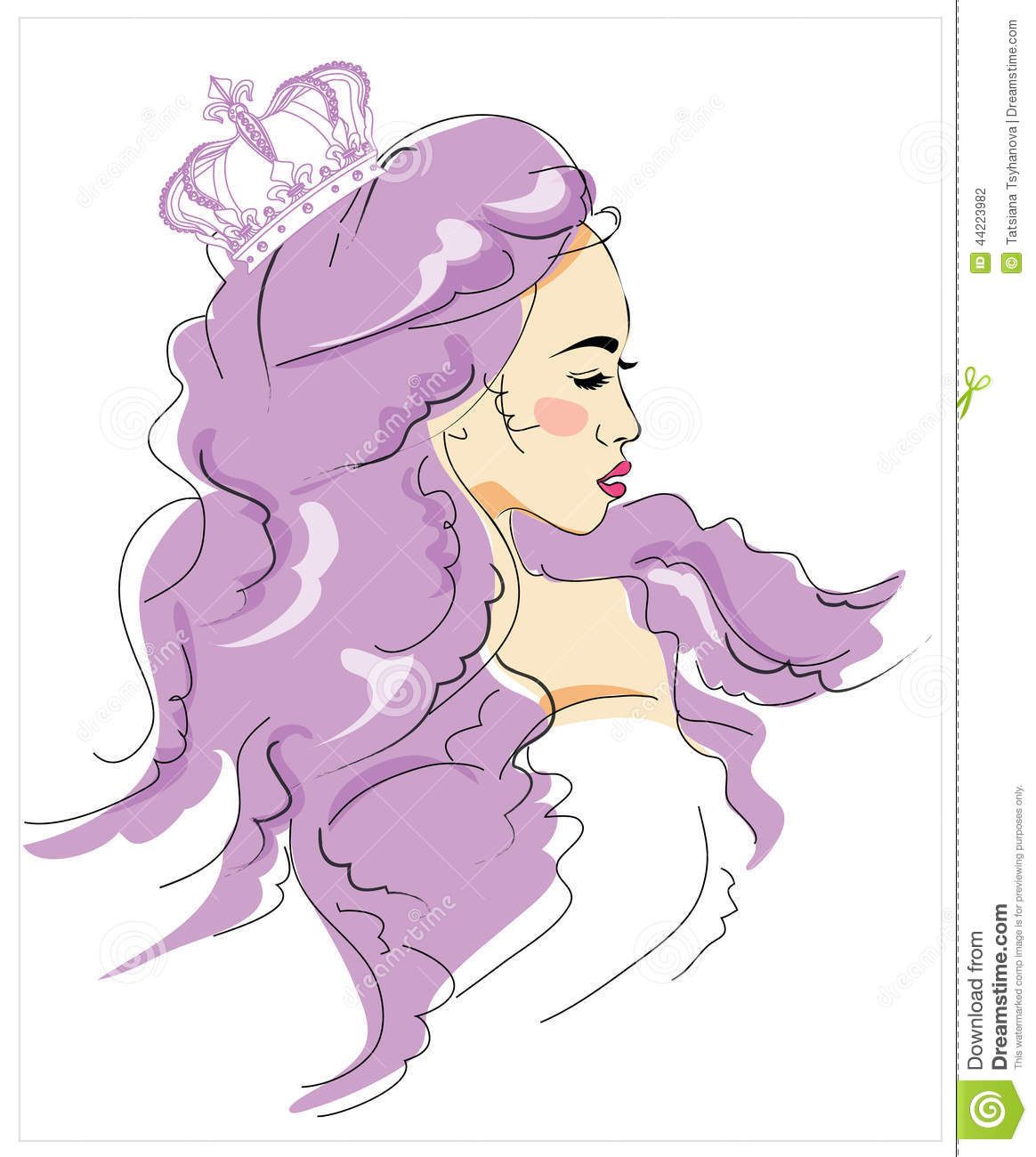 Young Girl With Long Hair Fashionable Woman Queen With Crown