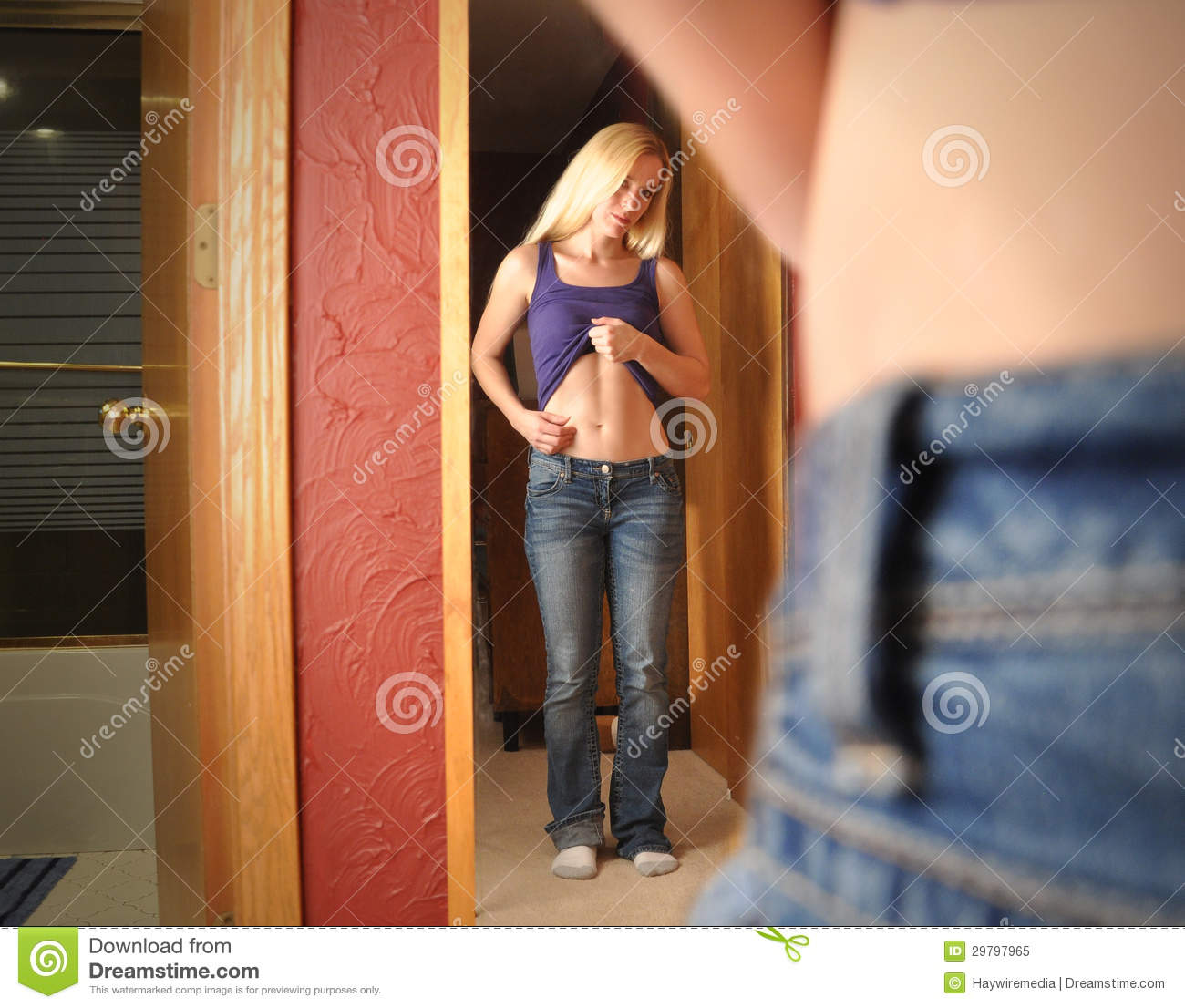 Diet Girl Looking In Mirror At Stomach Royalty Free Stock ...