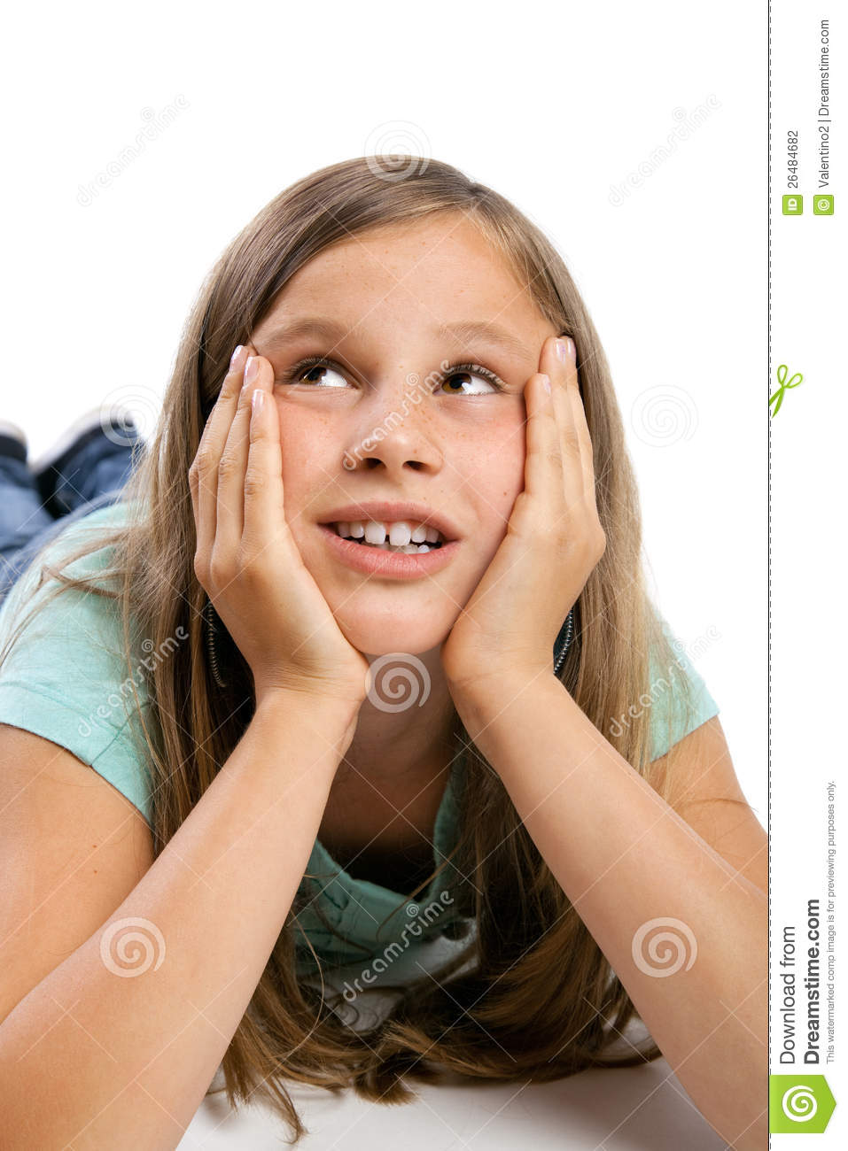 Young Girl Looking Up Stock Photography