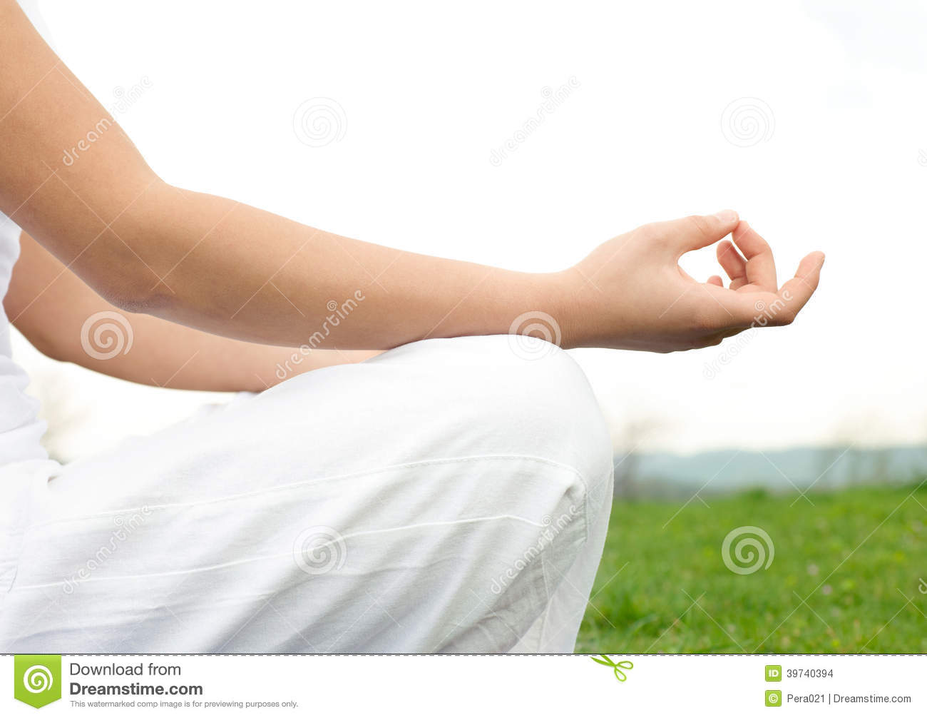 Young Girl In Lotus Pose In The Vild Flower Field Stock Photo