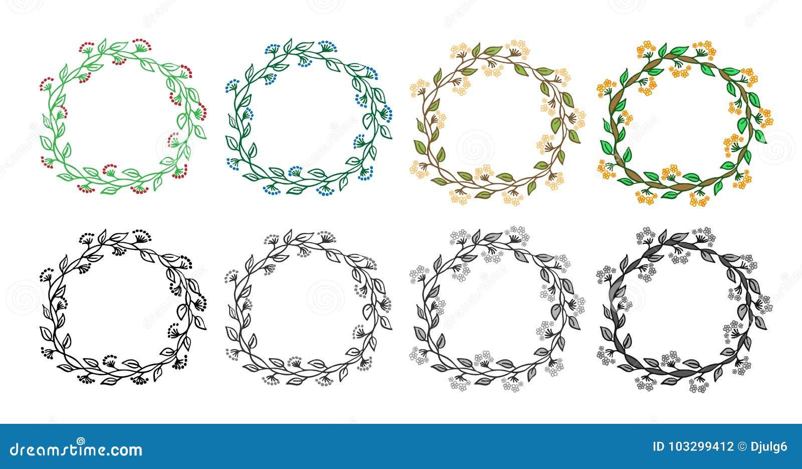 Set Of 8 Decorative Circle Frames. Set Of Doodle Design Elements ...