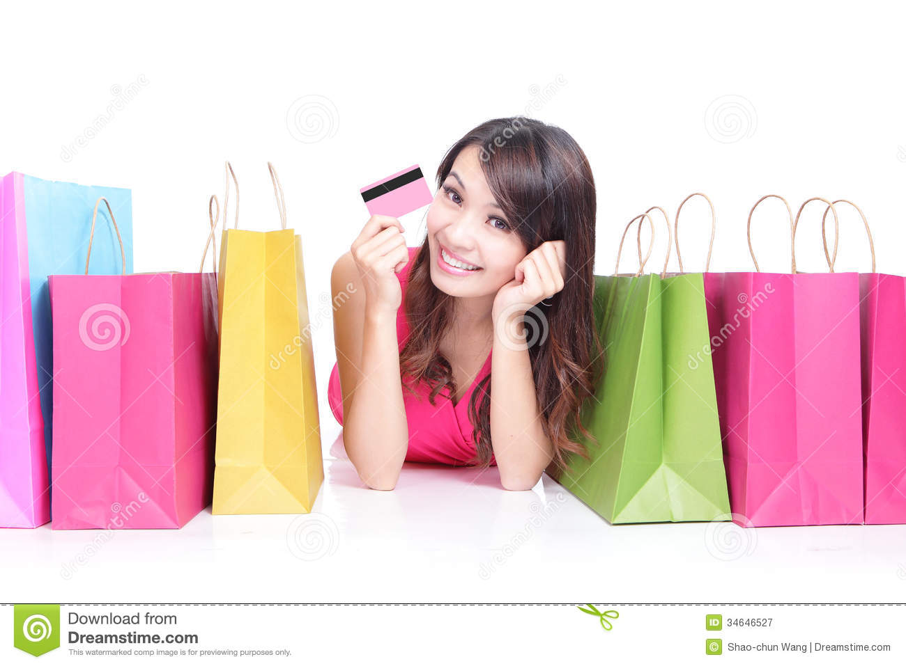 Young Girl Lying With Shopping Bags Royalty Free Stock Photography ...