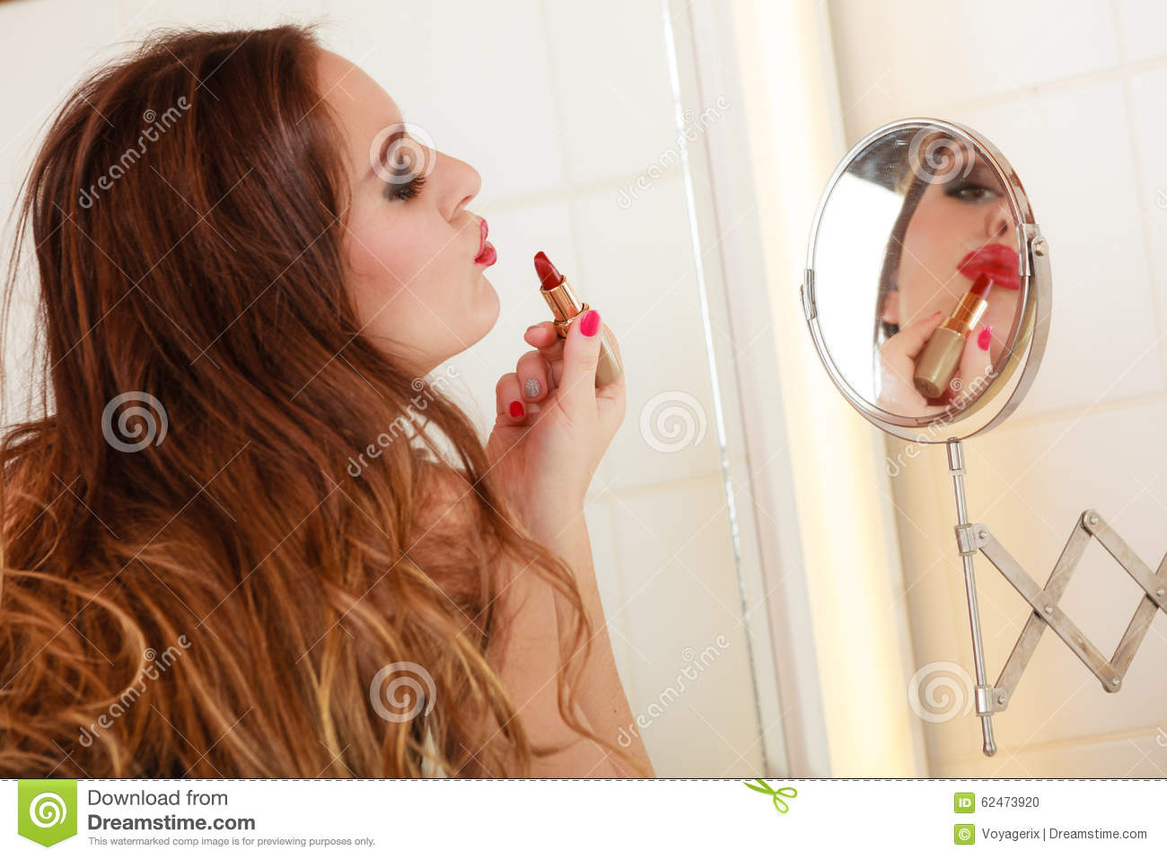 Young girl making makeup stock photo image 62473920 for Mirror kisses