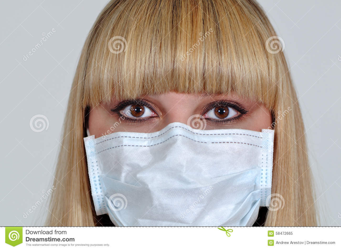 Young - Mask Girl Medical Image A In Business Stock Of