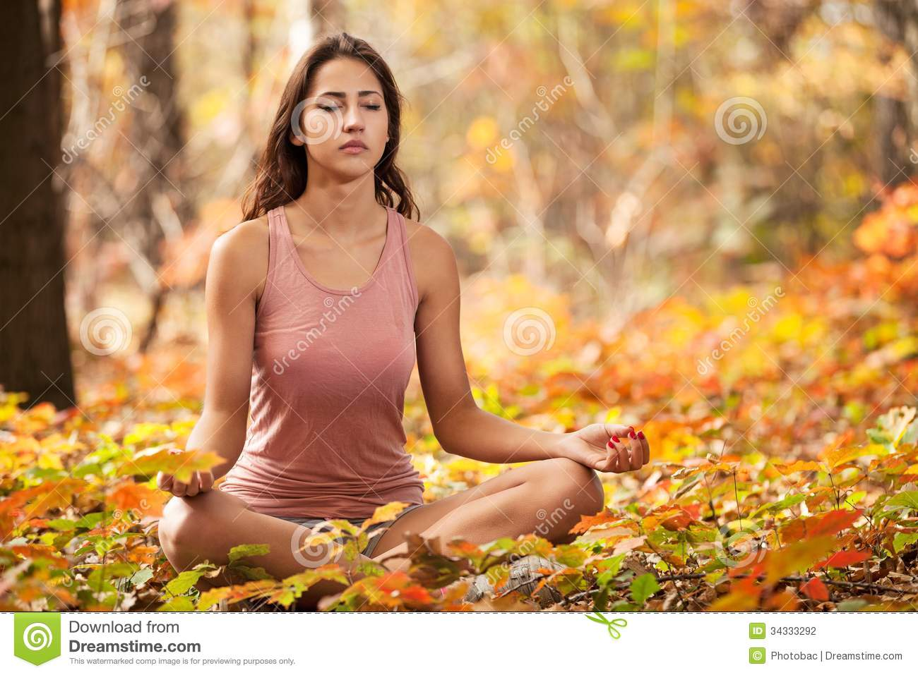Young Girl Meditating In Autumn Park Stock Photography - Image ...