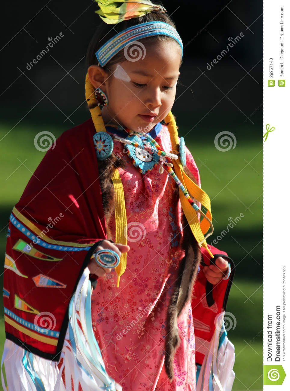 Very young native american girl accept
