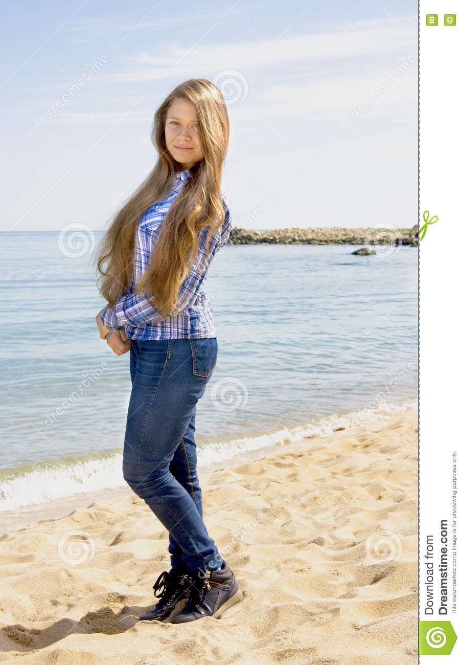 Gothic Pussy Girl Photo Jeans Beach