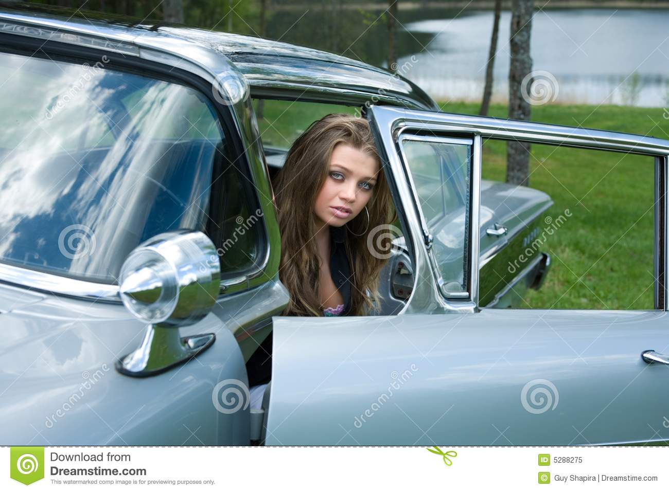 Young Girl In Old Fashioned Car Royalty Free Stock Photo Image