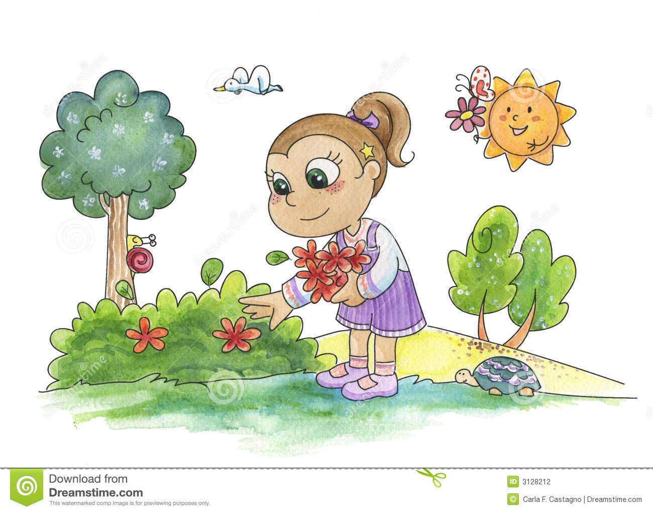 Young Girl Picking Flowers Stock Photography Image 3128212