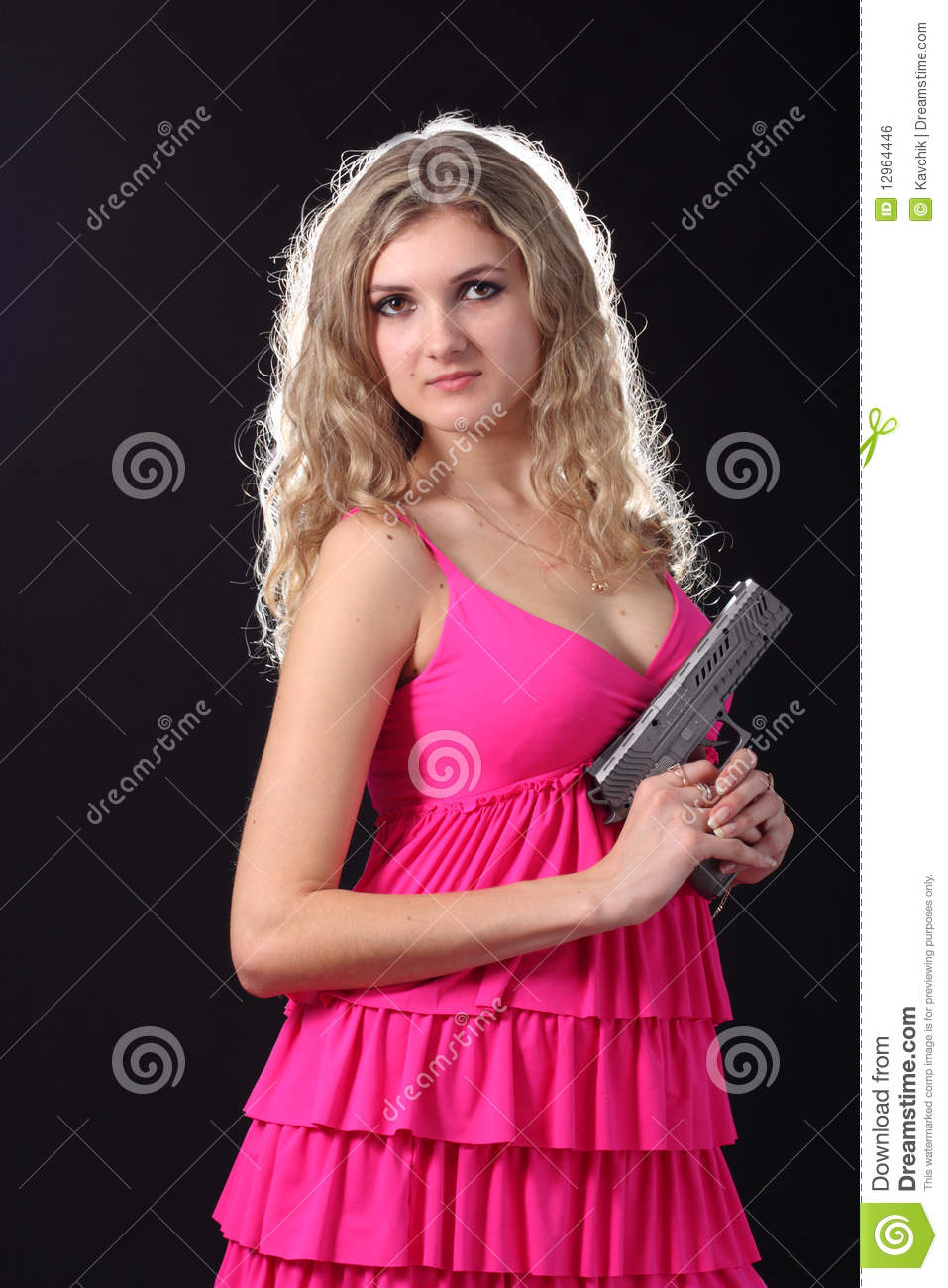 Girl With The Blog: Young Girl With Pistol Royalty Free Stock Image