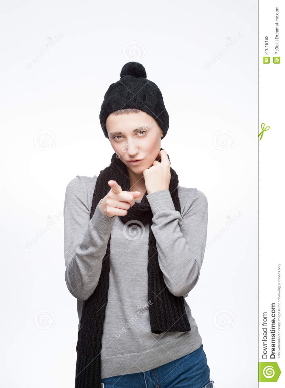 Young Girl Pointing At Camera With Sexy Look Stock ...