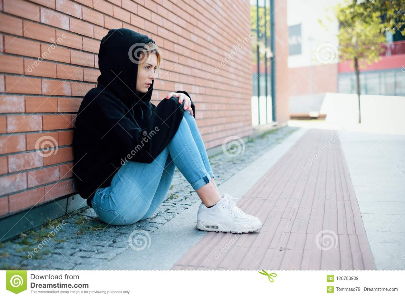 Young Girl Portrait Outdoor Feeling Alone And Sad Stock Image