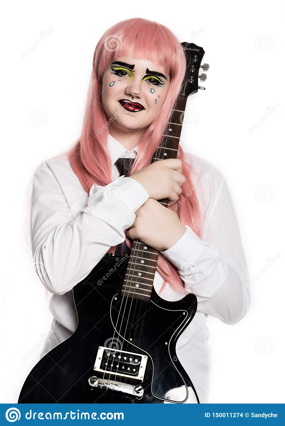 Young girl with professional comic pop art make-up holding electric guitar. Funny cartoon or comic strip make-up
