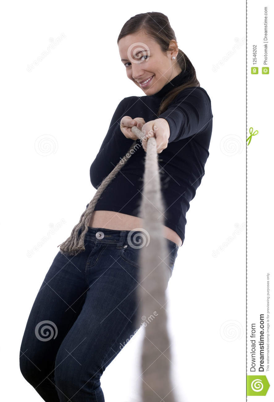 Young Girl Pulling Grey Rope Tug Of War Stock Photo
