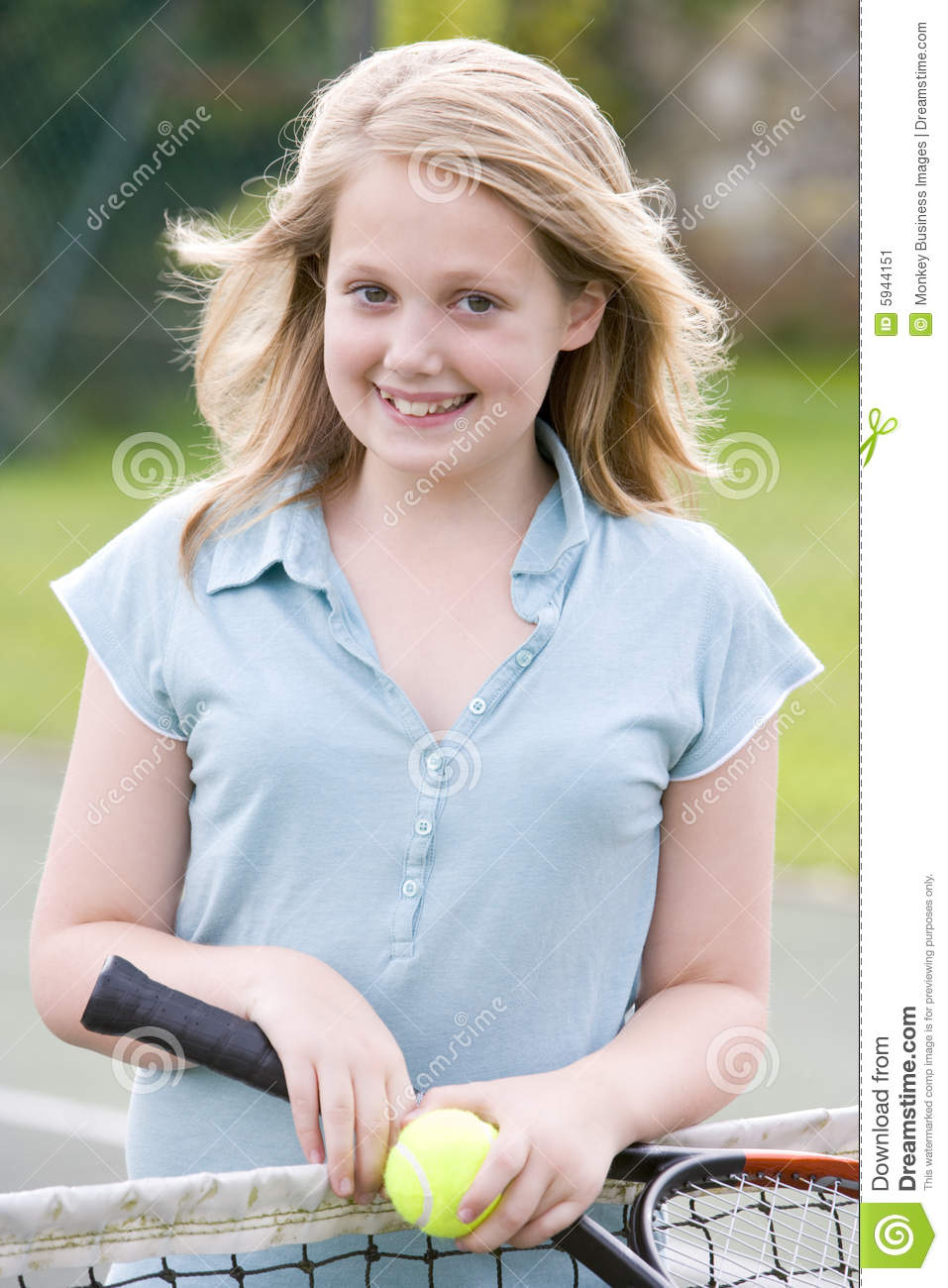 Young Girl With Racket On Tennis Court Smiling Stock Image ... on Small:zikqrscfop8= Teenage Girls  id=16871