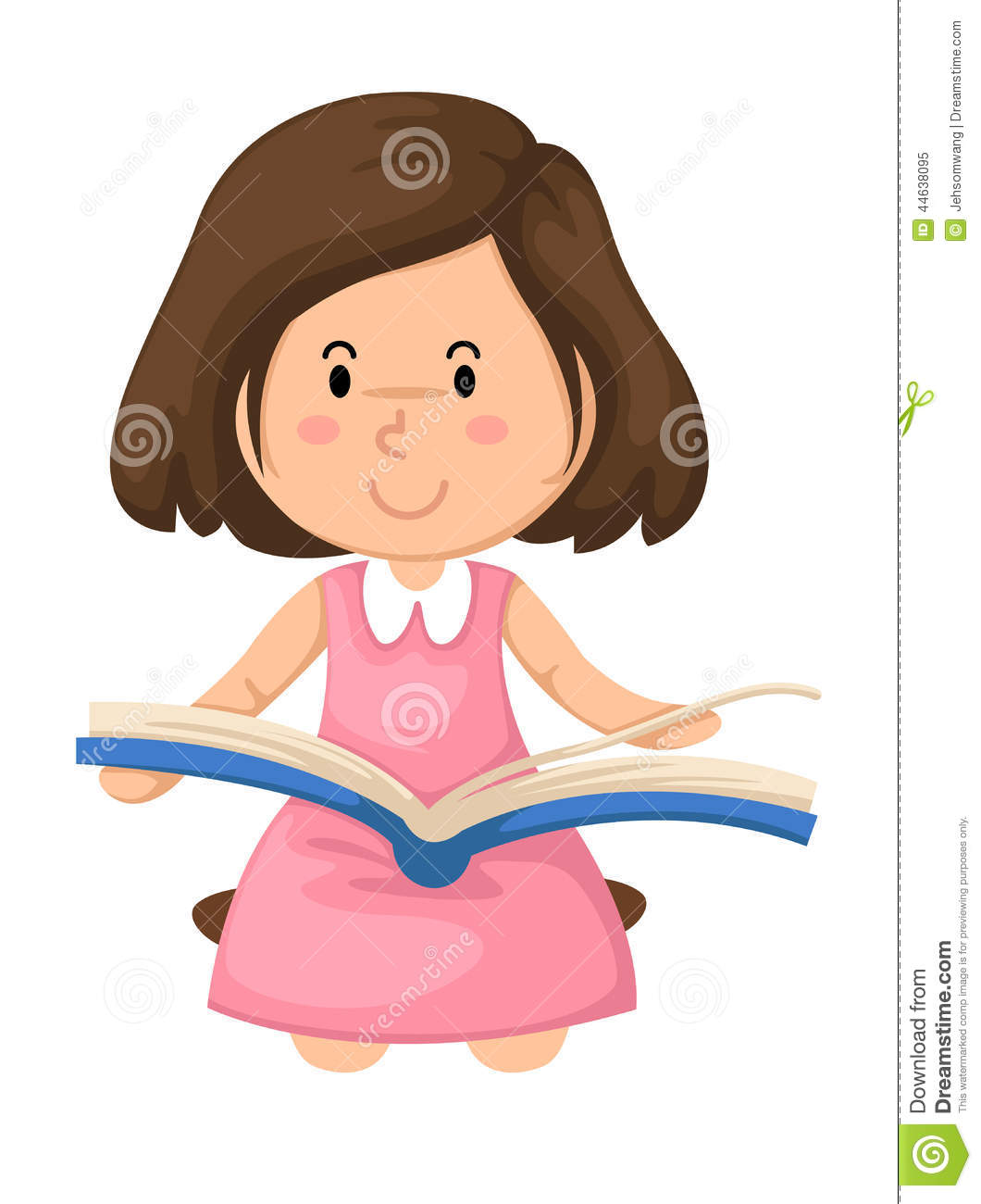 Young Girl Reading A Book Vector Stock Vector ...