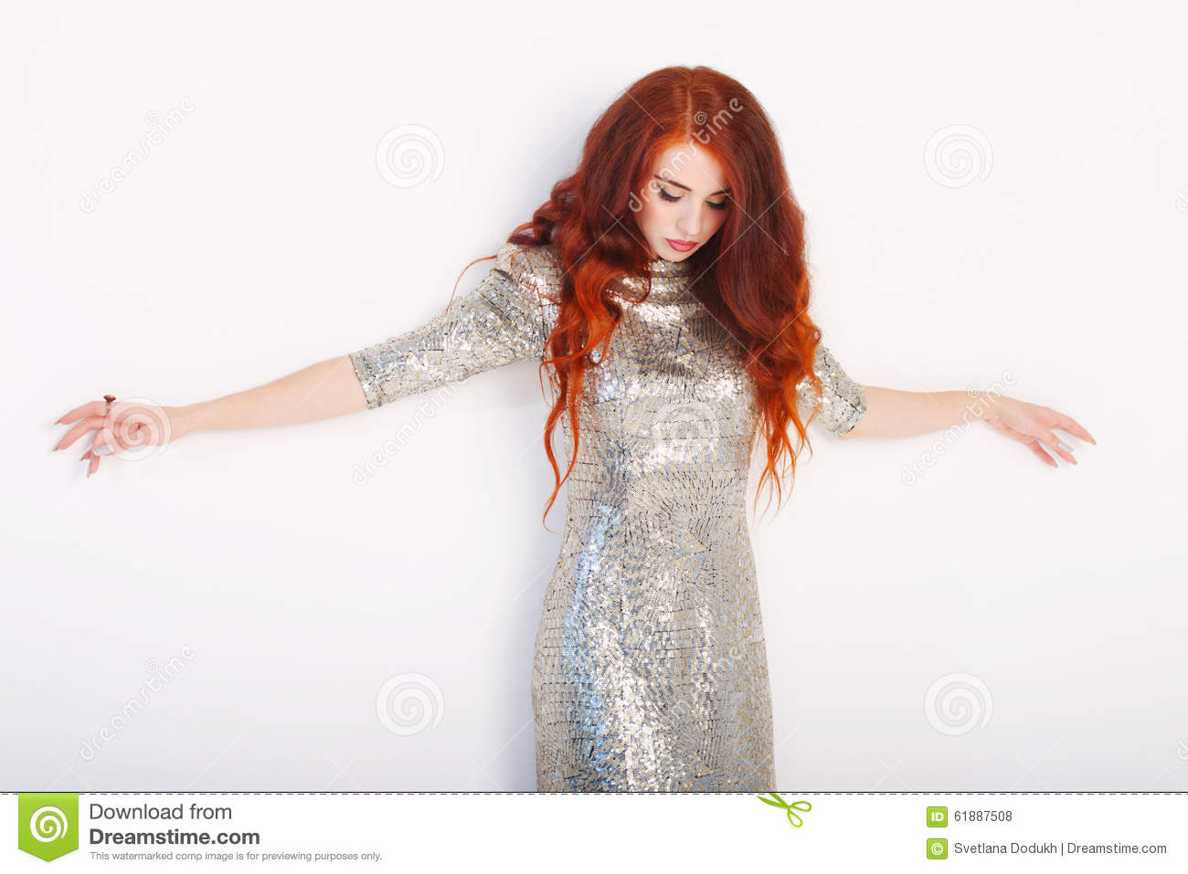 Young Girl With Red Hair And Shiny Silver Stock Photo Image Of