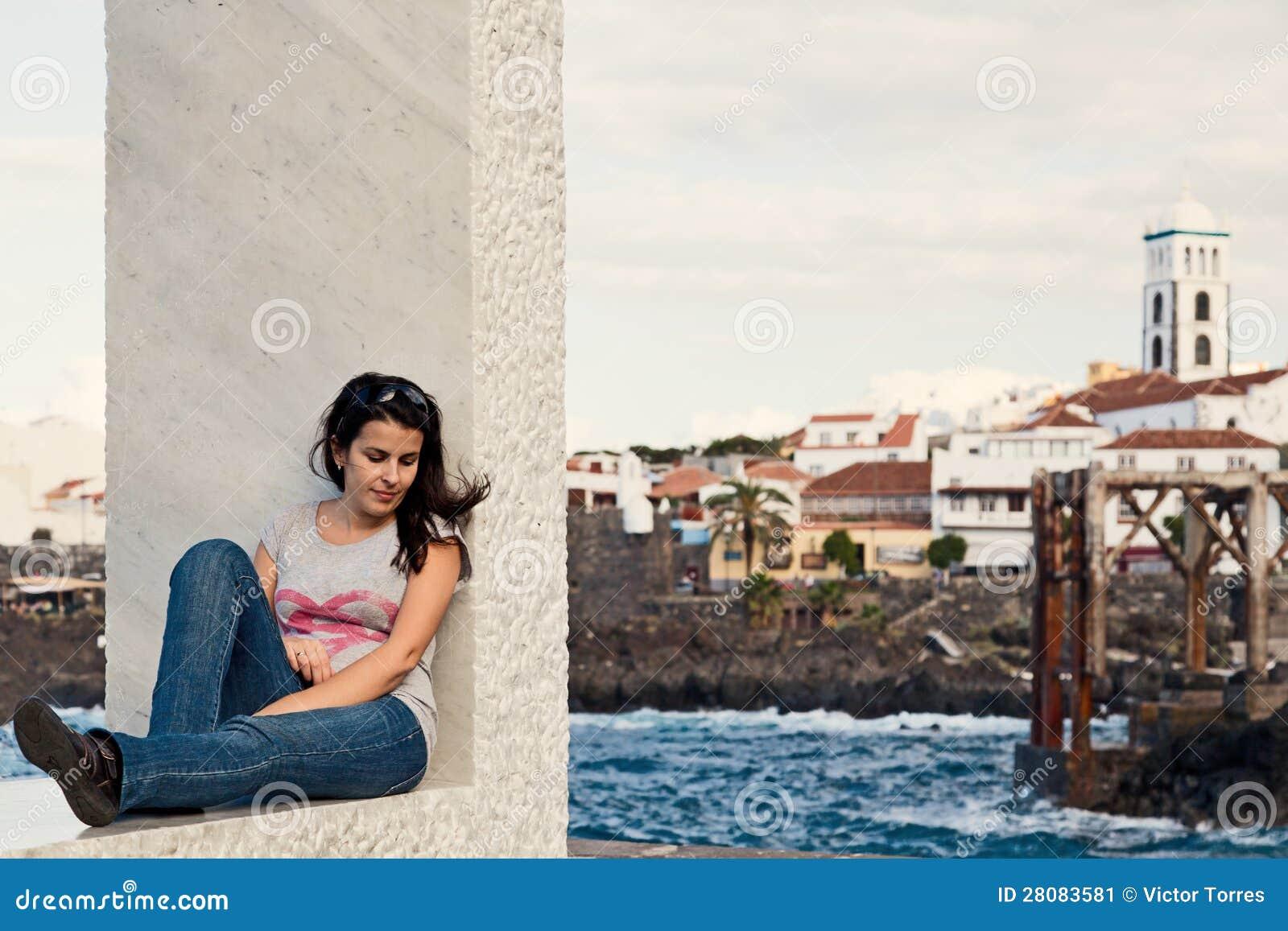 Young Girl Relaxing in Garachico Town, Tenerife