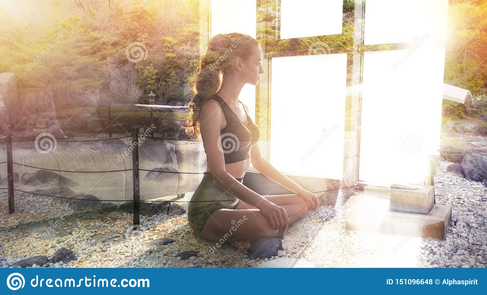Young girl relaxing in yoga position at home with zen garden. Double exposure